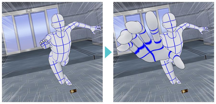 3Dデッサン人形へのマンガパース機能の適用例