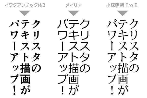 イワタアンチック体B、メイリオ、小塚明朝 Pro Rによる描画例