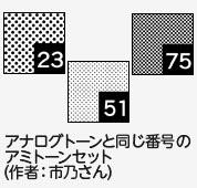 市乃さんの「アナログトーンと同じ番号のアミトーンセット」