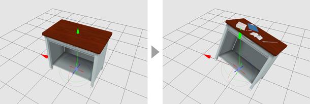 机の3D素材とノートの3D素材を組み合わせれば、机のうえにノートを開いた状態の3D素材が作れます。普段机・勉強机として使い分けるなど、用途にあわせて3D素材をカスタマイズしてみましょう。